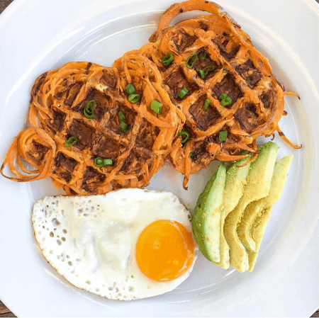 Savory Spiralized Sweet Potato Waffles With Eggs